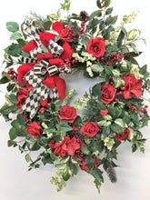 Red Rose Silk Floral Transitional Winter Wreath/Trans25 - April's Garden Wreath