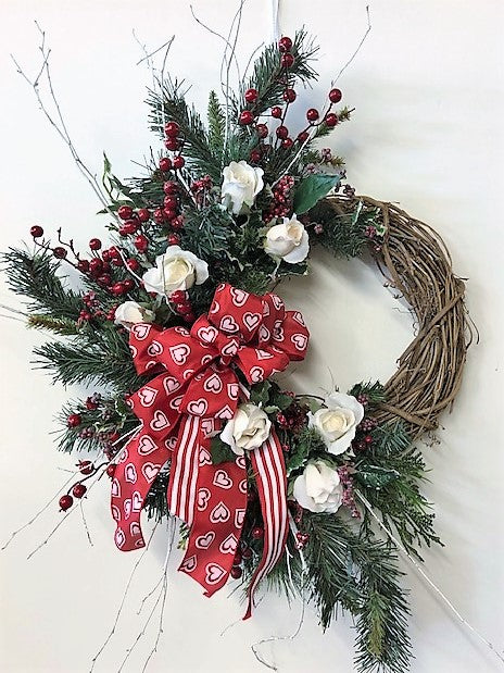 Red and White Silk Floral Crescent Winter Wreath with Roses/Trans28 - April's Garden Wreath