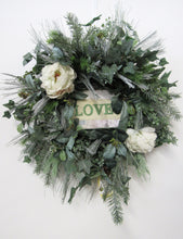 Cream and Frost Silk Winter Wreath with Love Plaque /Trans43 - April's Garden Wreath