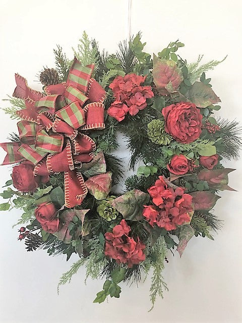 Red and Green Silk Floral Transitional Winter Wreath/Trans55 - April's Garden Wreath