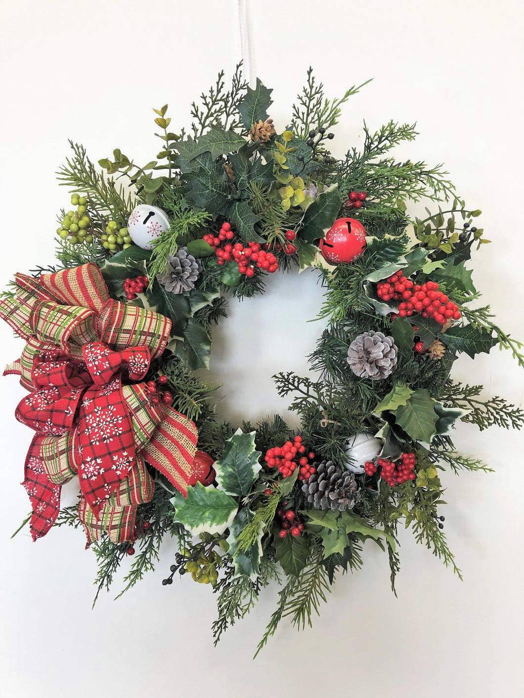 Holly and Berry Silk Floral Transitional Winter Front Door Wreath/Trans70