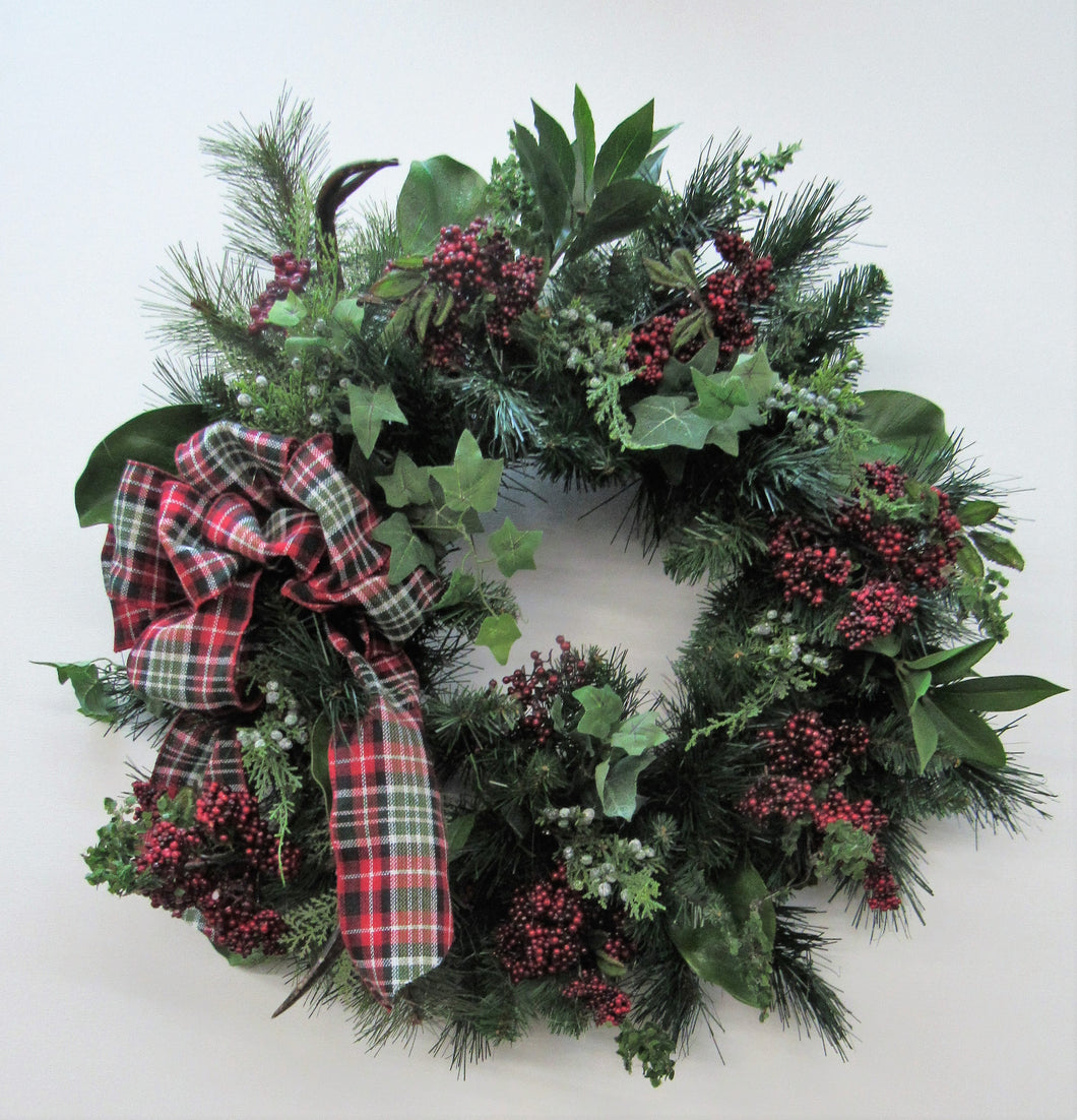 Green and Red Berry Silk Floral Transitional Winter Wreath with Antlers/Trans72 - April's Garden Wreath