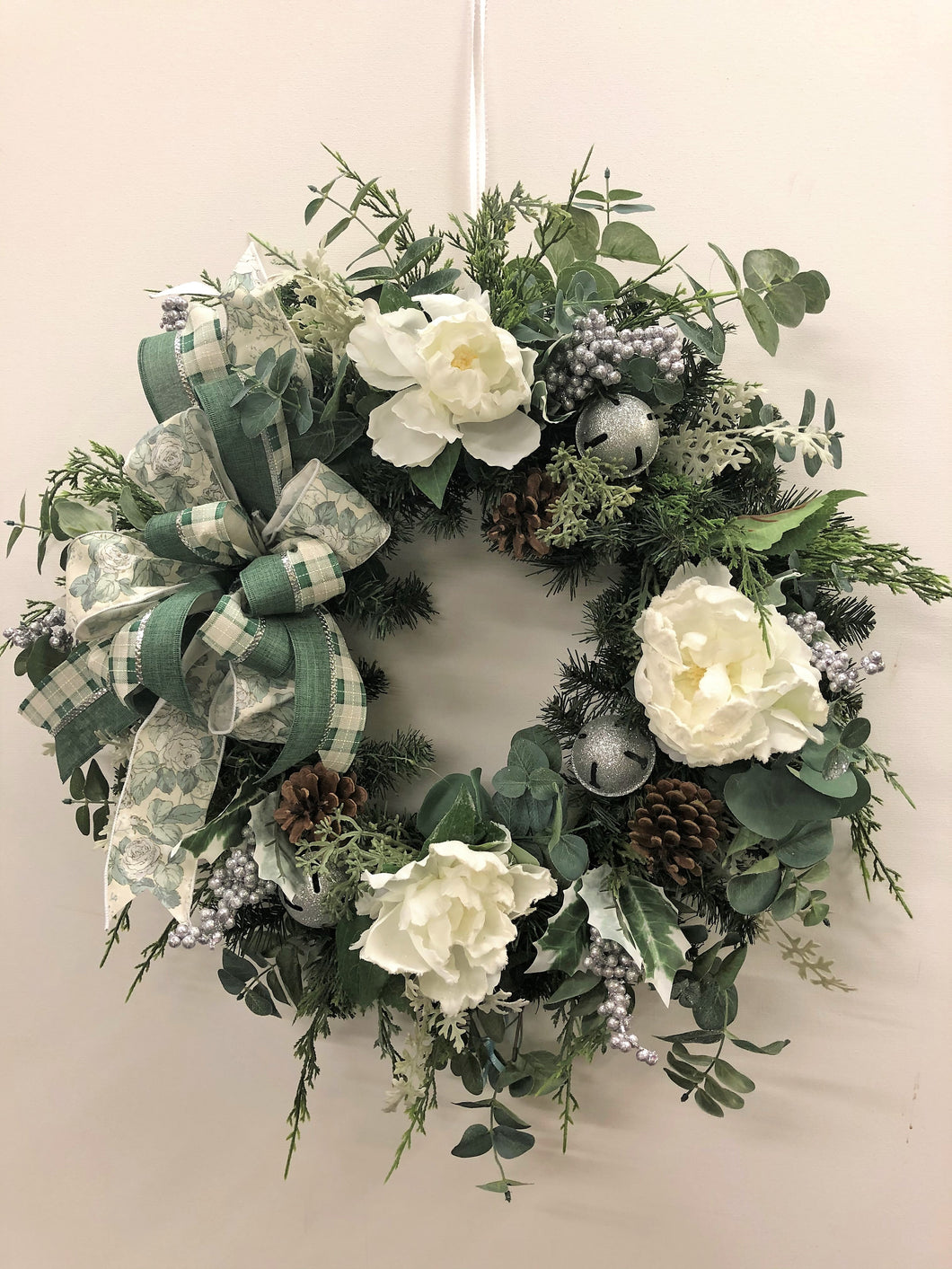 Cream Peony and Eucalyptus Silk Floral Transitional Winter Wreath/Trans87