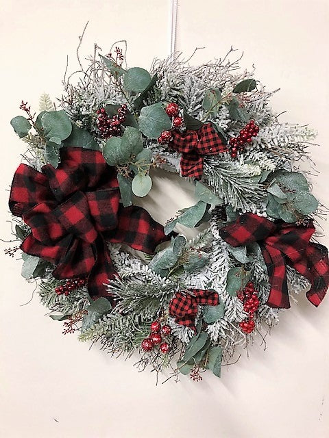 Flocked Snow Pine Silk Floral Winter Wreath with Buffalo Plaid Bow/Trans90 - April's Garden Wreath