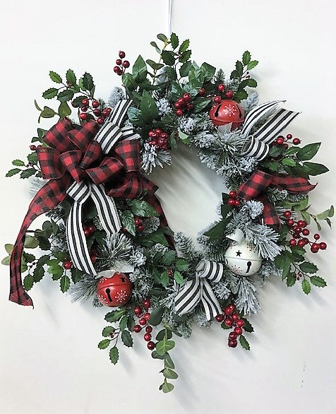 Red Berry and Snow Pine Winter Wreath with Buffalo Plaid Bow/Trans94 - April's Garden Wreath
