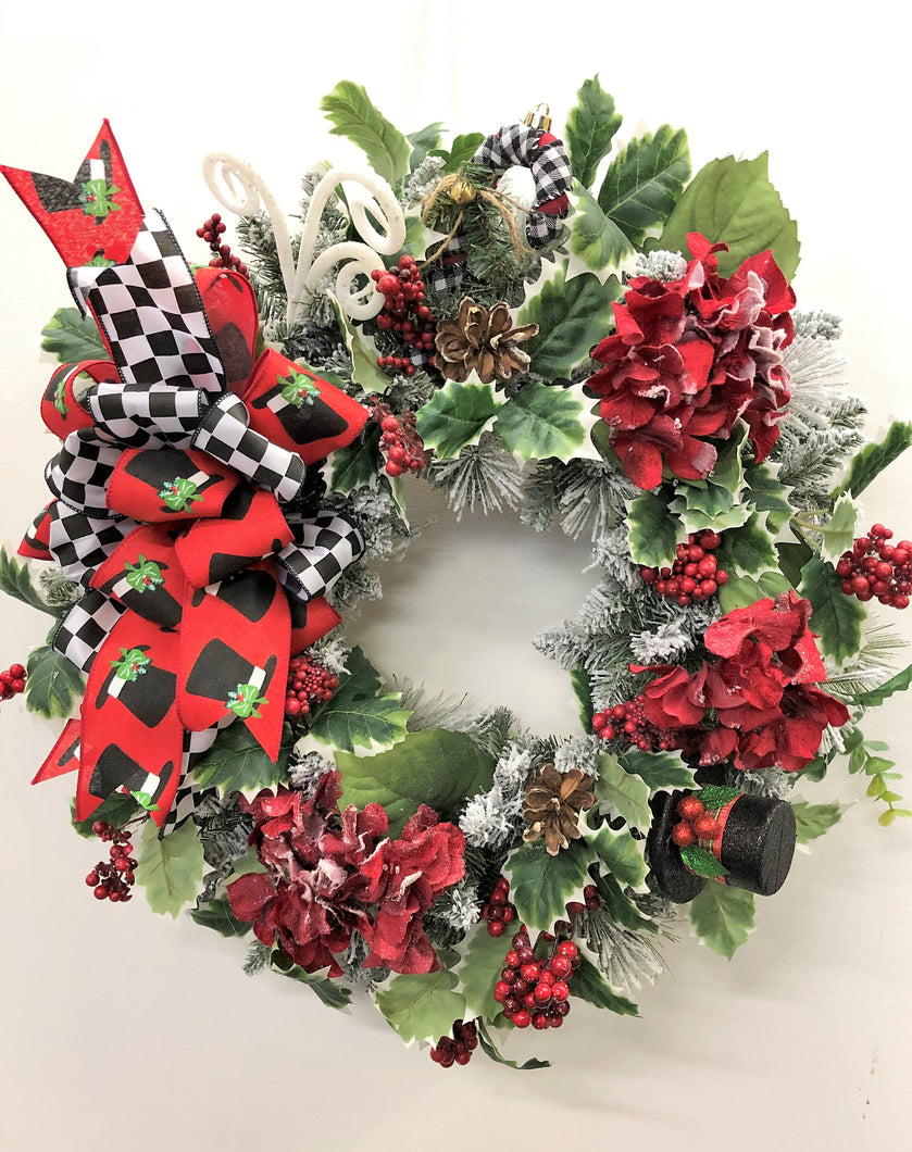 Red Snow Hydrangea Silk Floral Winter Wreath/Trans96 - April's Garden Wreath