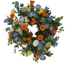 Blue, Yellow and Orange Silk Floral Summer Wreath/Ver01 - April's Garden Wreath