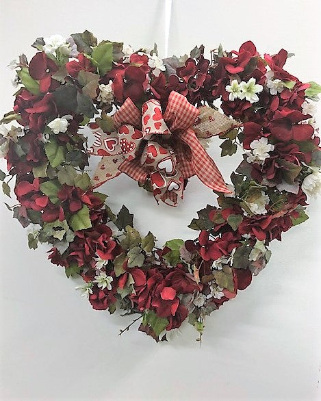 Red Hydrangea Heart Shaped Valentine's Day Wreath/Val03