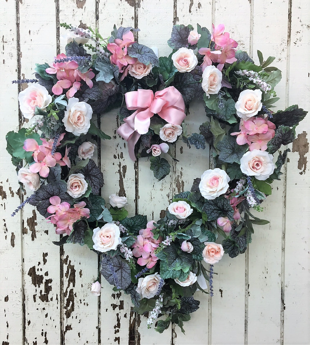 Heart Shaped Pink Valentine's Wreath/Val06 - April's Garden Wreath