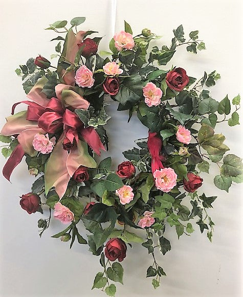 Red and Pink Silk Floral Valentine's Day Wreath/Val17 - April's Garden Wreath