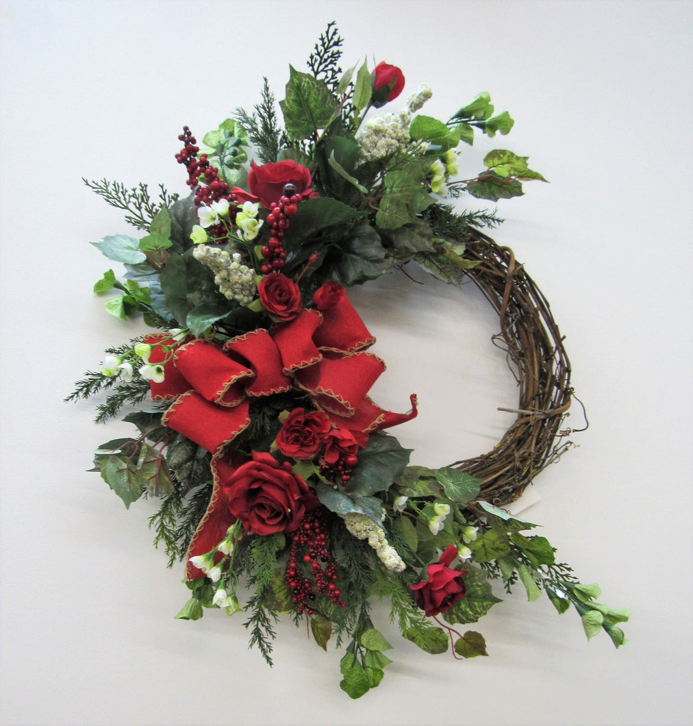 Red Rose Silk Floral Valentines Day Crescent Front Door Wreath/Val25 - April's Garden Wreath