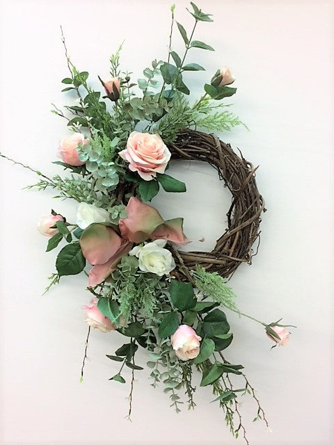 Pink and Cream Silk Floral Valentines Day Front Door Crescent Wreath/Val32 - April's Garden Wreath