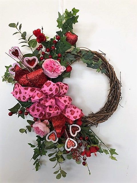 Pink and Red Rose Silk Floral Valentines Day Crescent Wreath/Val36 - April's Garden Wreath