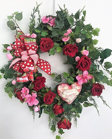 Red and Pink Rose Silk Floral Valentines Day Front Door Wreath/Val40 - April's Garden Wreath