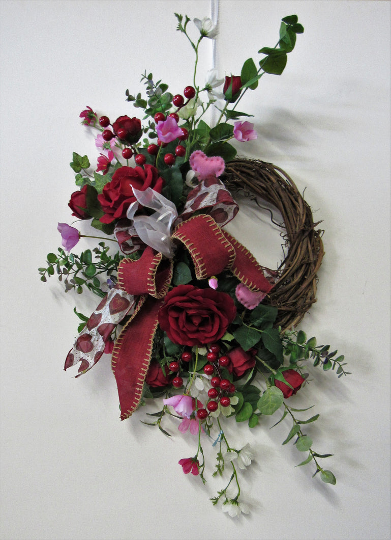 Red Rose Silk Floral Valentines Day Crescent Front Door Wreath/Val4 - April's Garden Wreath