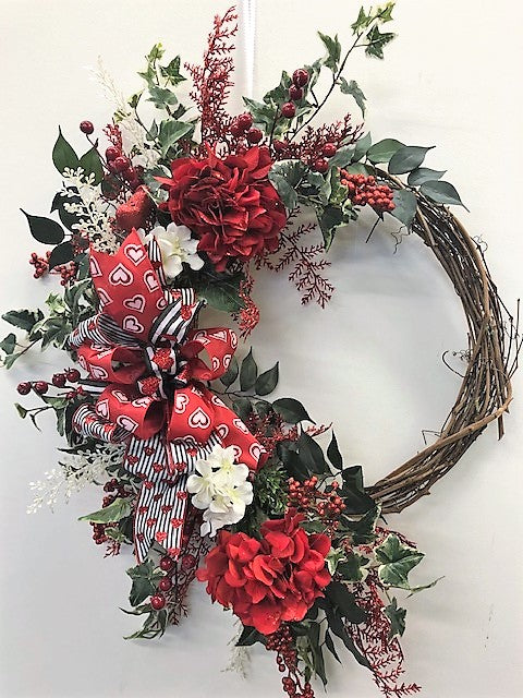 Red and Cream Hydrangea Silk Floral Valentines Day Large Crescent Wreath/Val49 - April's Garden Wreath