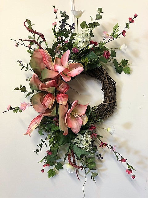 Pink Amaryllis Silk Floral Valentines Day Crescent Wreath/Val51 - April's Garden Wreath