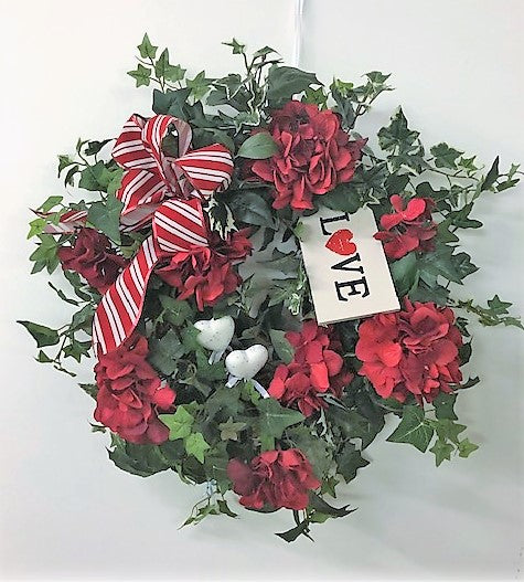 Red Hydrangea Silk Floral Valentine's Day Wreath/Val54 - April's Garden Wreath