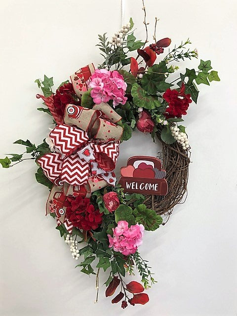 Red and Pink Silk Floral Valentines Day Crescent Wreath/Val58