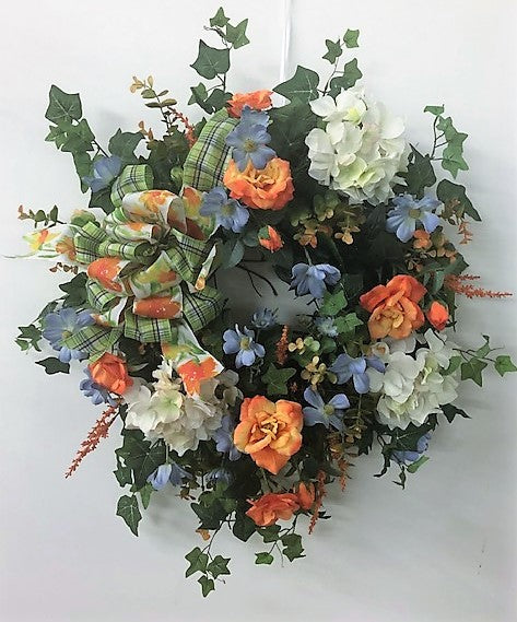 Light Blue, Orange and Cream Silk Floral Summer Wreath/Ver101 - April's Garden Wreath