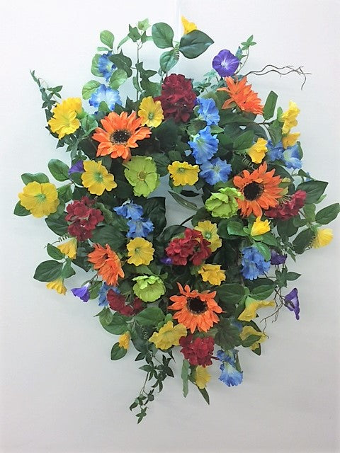 Rainbow Silk Floral Front Door Pride Wreath with Orange Sunflowers/Ver104