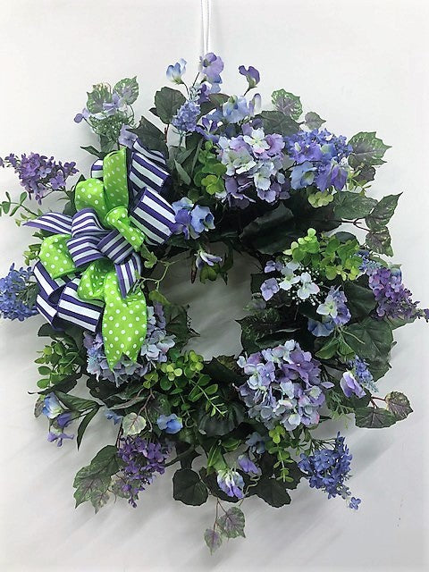 Purple Hydrangea Silk Floral Spring Summer Wreath/Ver108