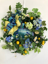 Blue, Cream and Lemon Silk Floral Spring Summer Wreath with Blue Bird Lemon Plaque/Ver111 - April's Garden Wreath