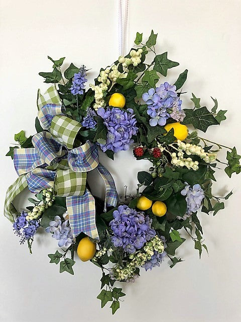 Blue Hydrangea Silk Floral Summer Wreath with Lemons/Ver112 - April's Garden Wreath