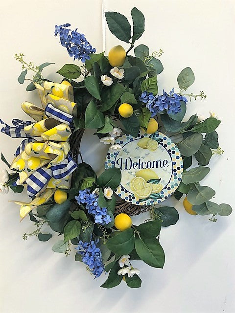 Blue and Yellow Silk Floral Lemon Wreath with Welcome Plaque/Ver113 - April's Garden Wreath