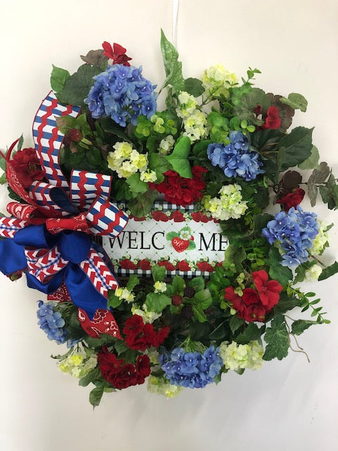 Red and Cream Silk Floral Summer Wreath with Strawberry Welcome Plaque/Ver117 - April's Garden Wreath