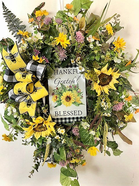 Yellow Sunflower Silk Floral Summer Wreath with Thankful Blessed Plaque/Ver118 - April's Garden Wreath