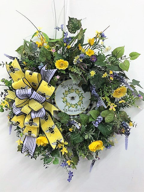 Yellow Silk Floral Summer Wreath with