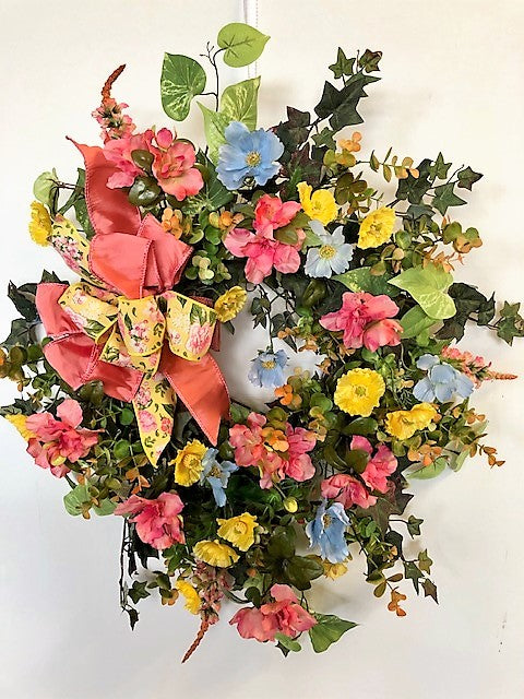 Yellow, Blue and Watermelon Pink Silk Floral Spring Summer Wreath/Ver121 - April's Garden Wreath