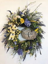 Yellow and Purple Silk Floral Front Door Summer Wreath with Bee Plaque/Ver124 - April's Garden Wreath