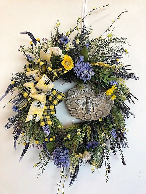 Yellow and Periwinkle Silk Floral Front Door Summer Wreath with Bee Plaque/Ver124