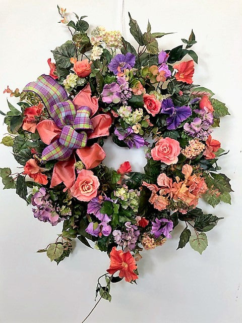 Coral and Purple Silk Floral Spring Summer Wreath/Ver125 - April's Garden Wreath