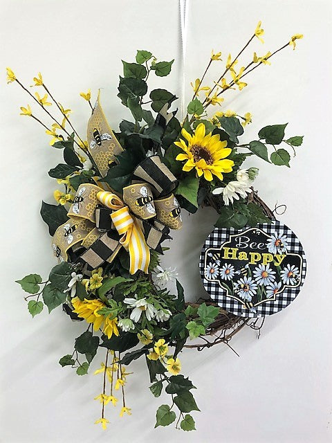Yellow, White and Black Silk Floral Summer Wreath with Bee Happy Plaque/Ver126