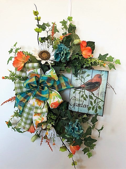Orange, Cream and Teal Silk Floral Summer Wreath with Robin Plaque/Ver129 - April's Garden Wreath