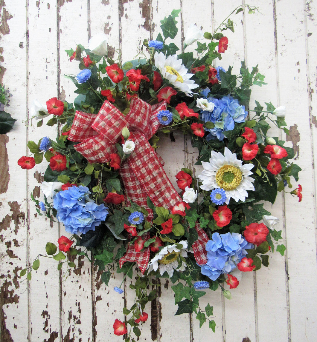 Red, White and Blue Summer Wreath//VER12 - April's Garden Wreath