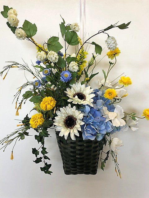 Cream, Blue and Gold Silk Floral Hanging Wall Basket with Hydrangeas and Sunflowers/Ver133 - April's Garden Wreath