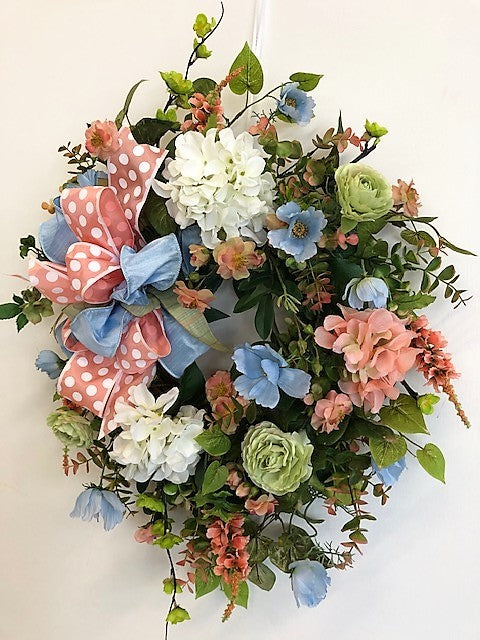 Coral and Cream Silk Floral Summer Hydrangea Wreath/Ver139 - April's Garden Wreath