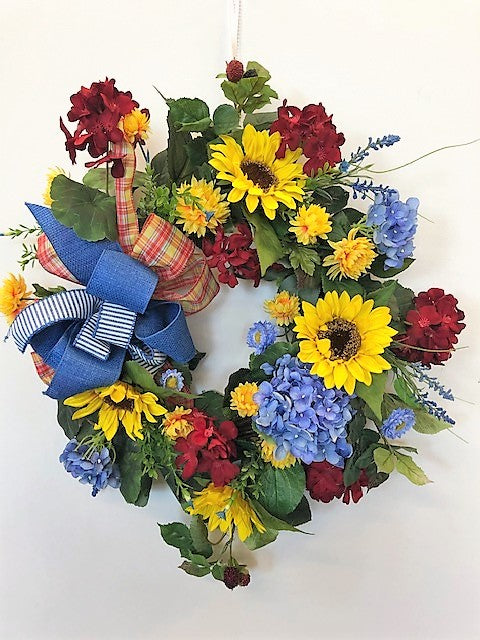 Red, Yellow and Blue Silk Floral Summer Fall Wreath with Sunflowers/Ver141 - April's Garden Wreath