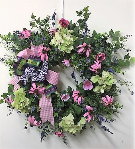 Yellow, Pink and Purple Silk Floral Summer Wreath/Ver21