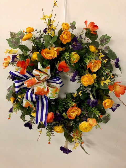Yellow, Purple and Orange Silk Floral Late Summer Early Fall Front Door Wreath/Ver22