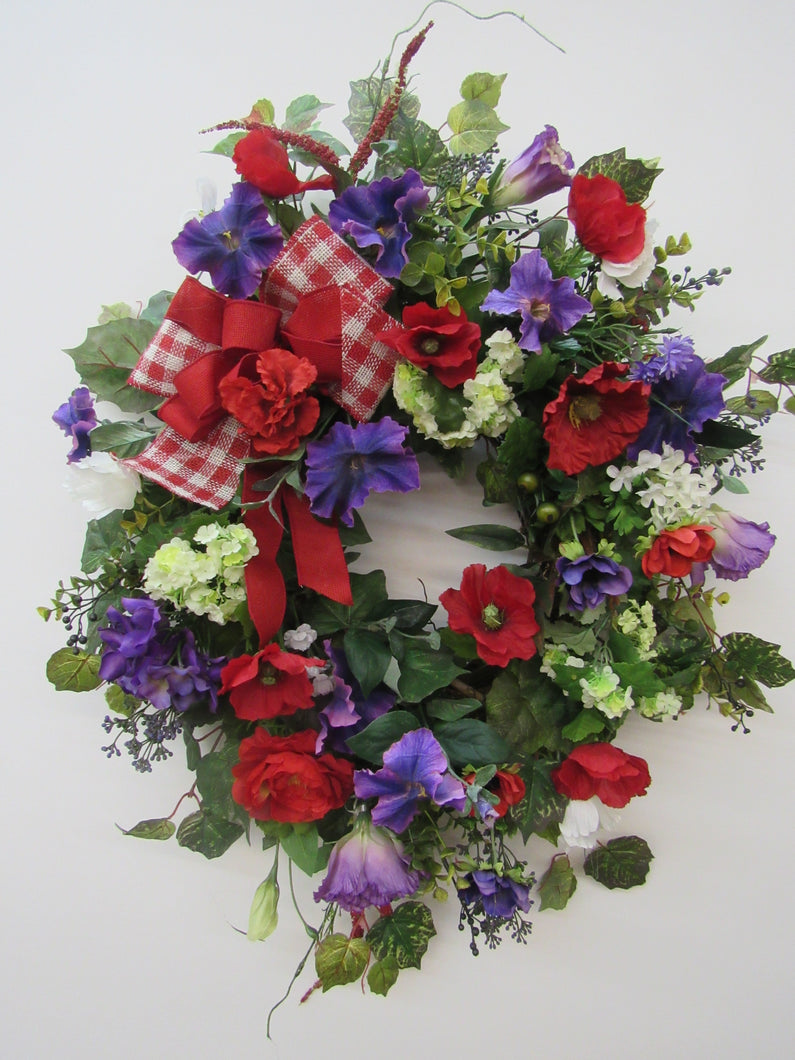 Purple and Red Silk Floral Summer Wreath/ Ver29 - April's Garden Wreath