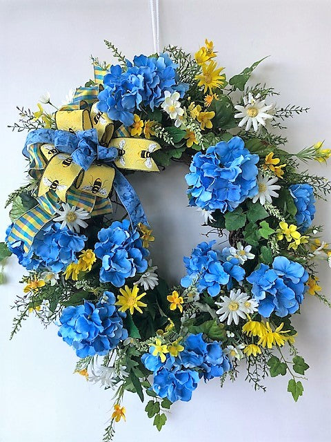 Blue, White  and Yellow Silk Floral Summer Wreath/VER44 - April's Garden Wreath