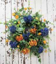 Navy Blue and Orange Silk Floral Late Summer Early Fall Wreath/VER49 - April's Garden Wreath