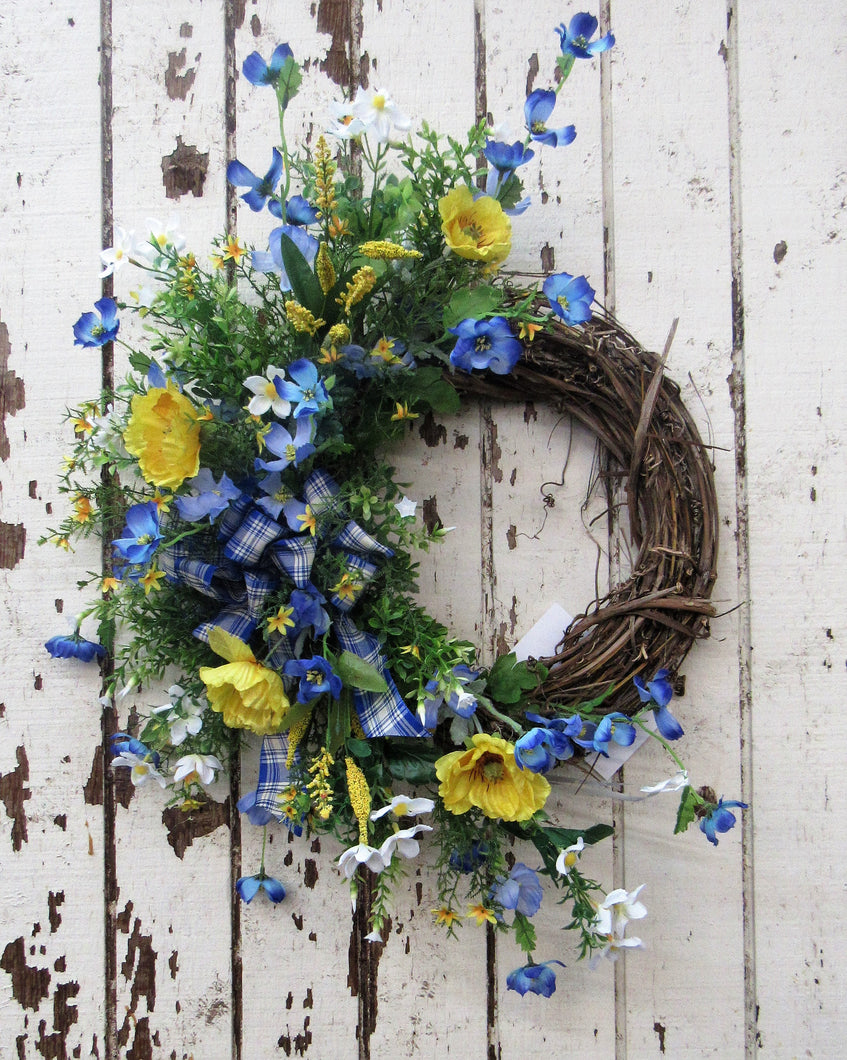 Yellow, Blue and White Silk Floral Summer Crescent Front Door Wreath/Ver54
