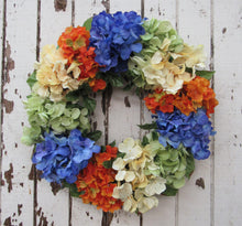 Dark Blue, Orange, and Lime Green Silk Floral Late Summer Hydrangea Wreath/Ver56 - April's Garden Wreath