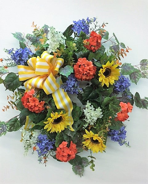 Orange, Blue and Cream Silk Floral Late Summer Early Fall Wreath with Gold Sunflower/Ver57 - April's Garden Wreath